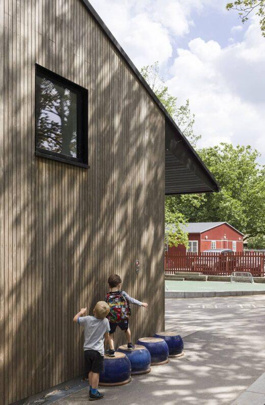Idrætsbørnehaven Rymarksvej gavl ved legeplads