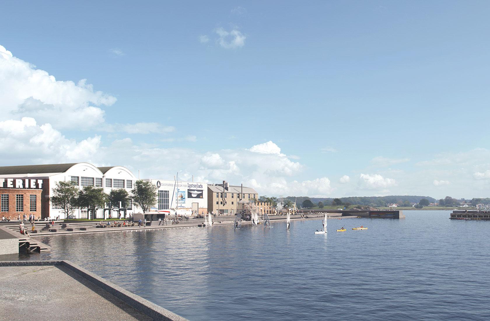 Den Blå Kant med havn og huse