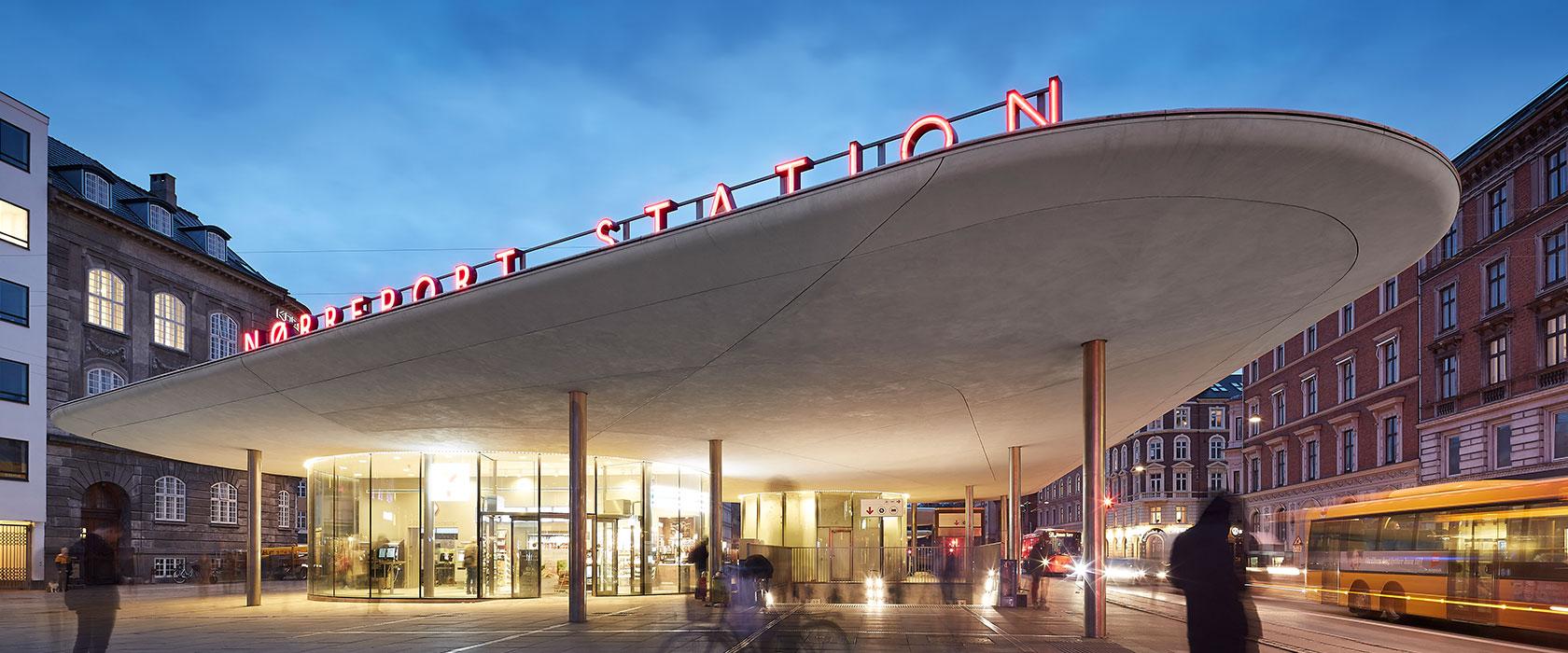 Nørreport Station by night