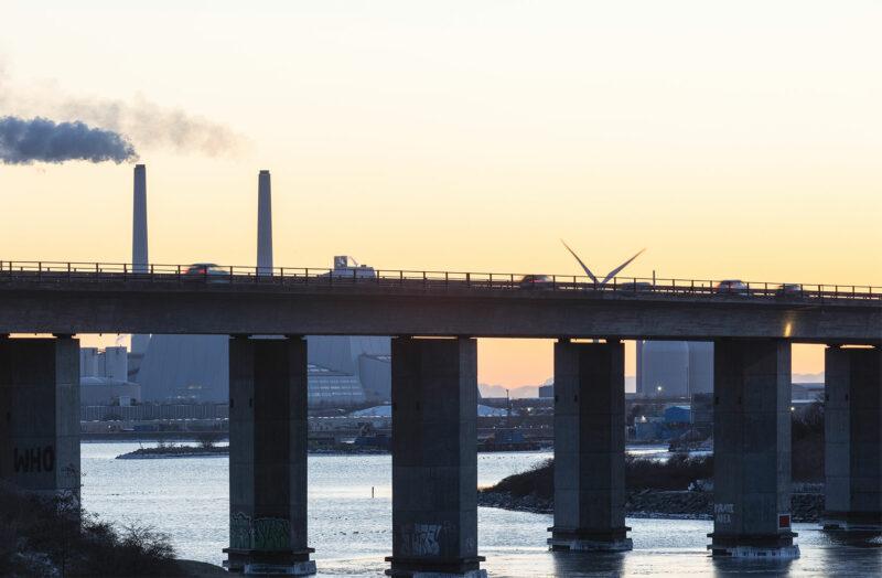 Amagermotorvejen i solnedgangen