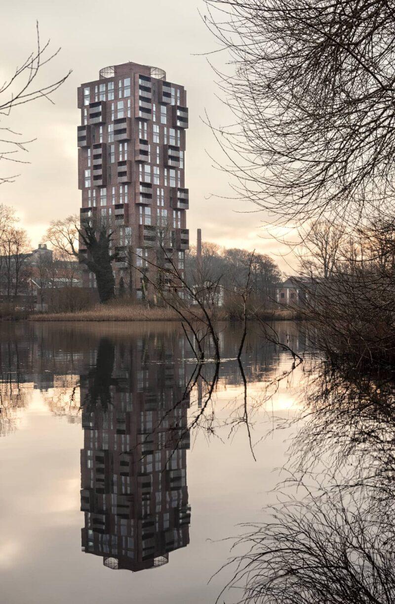 Papirtårnet i solopgang