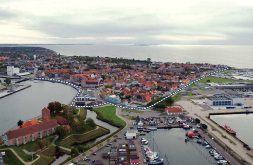 Den gamle kystlinje går gennem Korsør bymidte